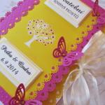 Svatební kniha žluto-tmavě-růžová
