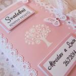 Svatební kniha růžovo-bílá-bílý strom