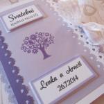 Svatební kniha lila-bílá-fialový strom