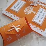 Svatební kniha oranžová champagne s krabičkou